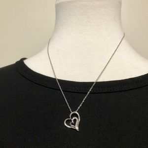 Zales Sterling Silver Double Heart Necklace